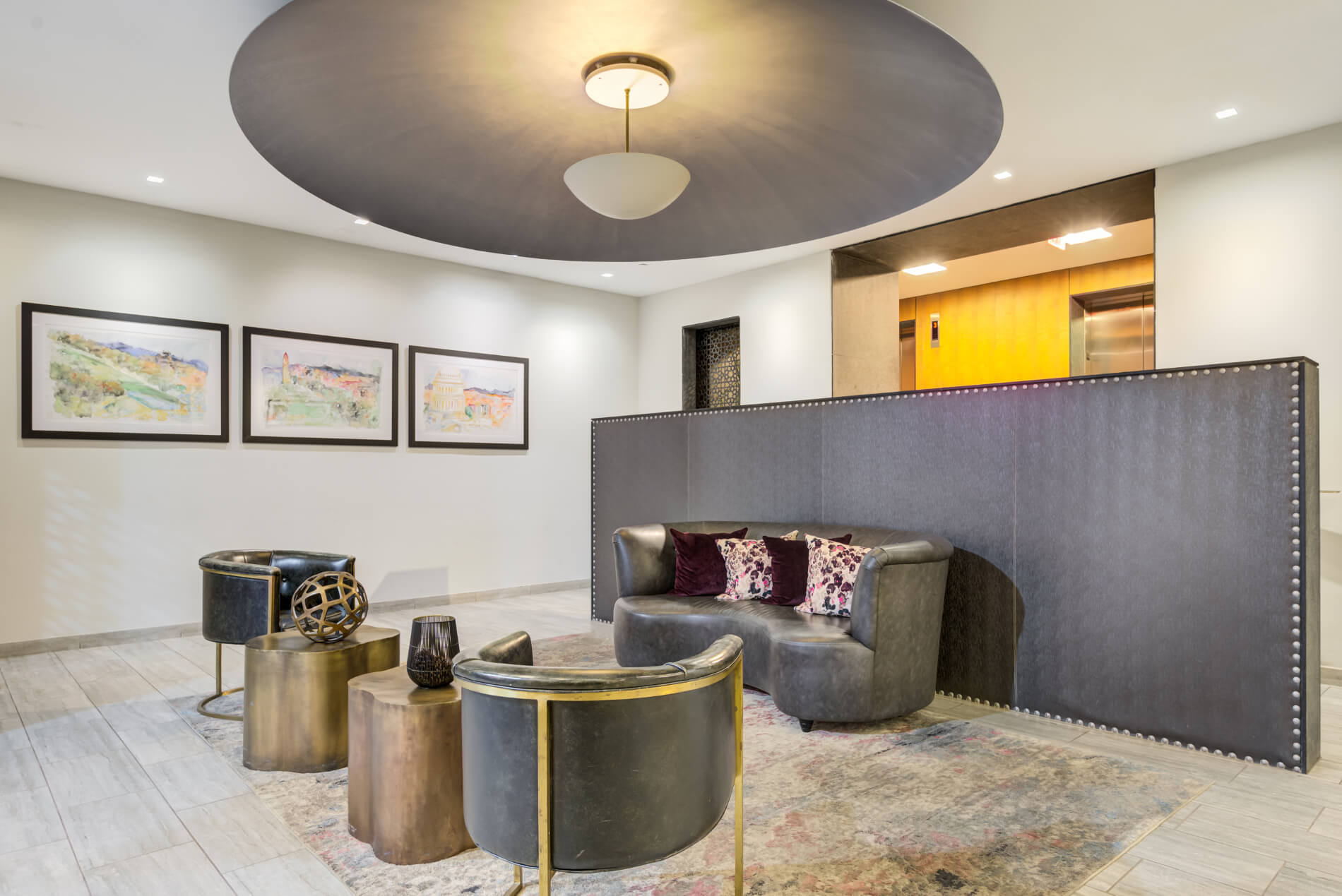 Lobby with furnishings in dramatic geometric and organic shapes
